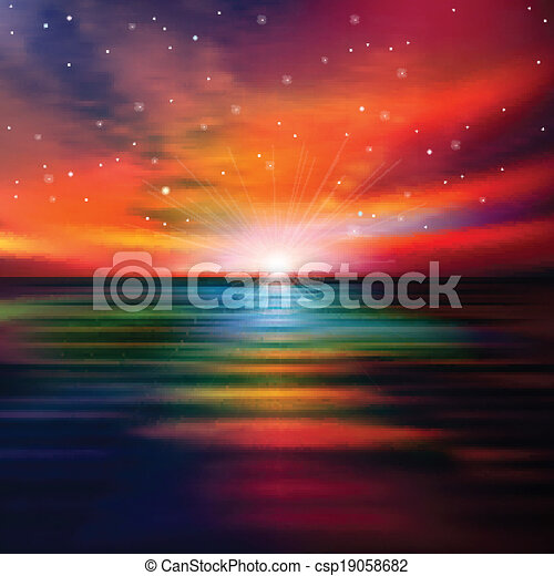 abstract background with sea sunset - csp19058682