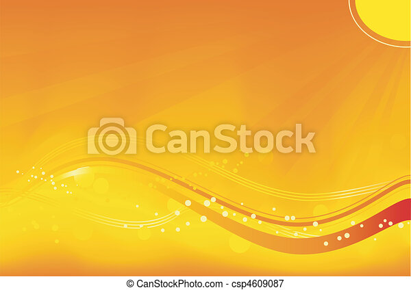 Abstract background with sun rays, wavy pattern and grunge elements in saturated orange, yellow and red. Great for autumn themes. No transparencies. - csp4609087