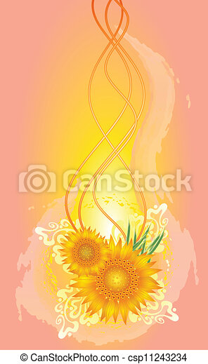 Abstract background with sunflowers - csp11243234
