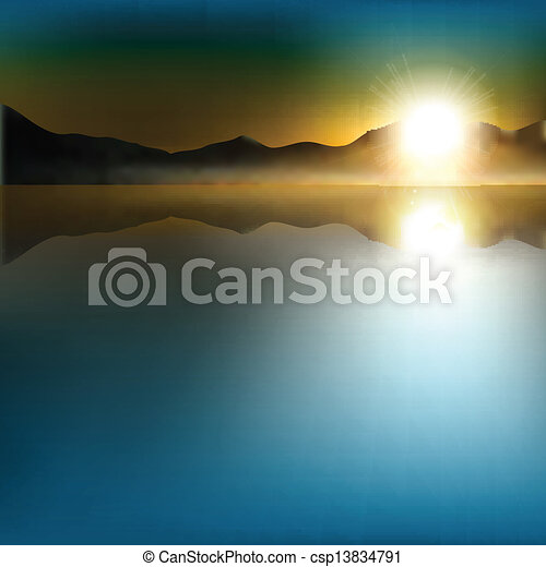 abstract background with sunrise and mountains - csp13834791