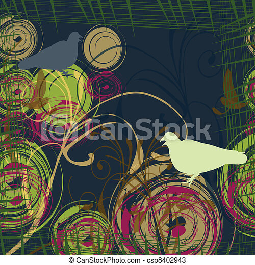 Abstract background with two doves - csp8402943