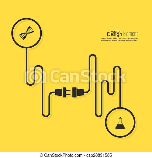 Abstract background with wire plug and socket. - csp28831585