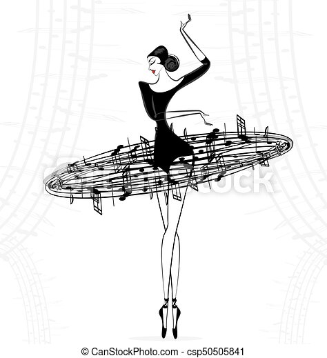 abstract ballet lady music - csp50505841