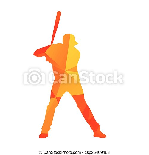Abstract baseball player silhouette - csp25409463