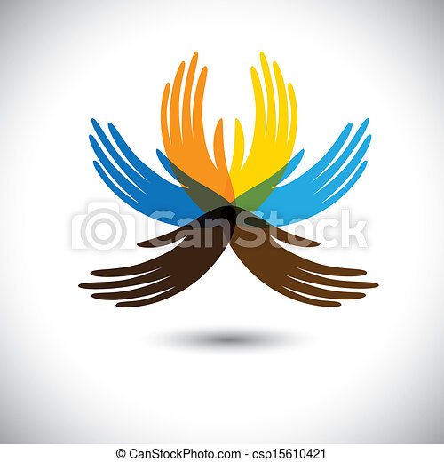 abstract beautiful flower with petals as colorful hands- vector graphic. This illustration consists of human hands together showing concepts of community unity, people alliance, etc - csp15610421