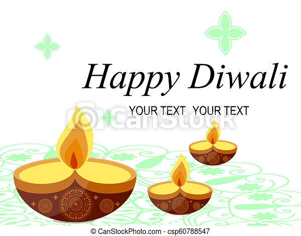Abstract Beautiful Happy Diwali Background Stock Burning Candle