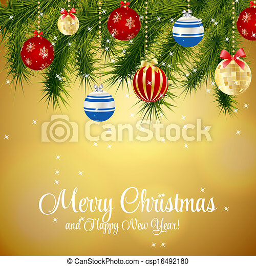 Abstract beauty Christmas and New Year background. vector illustration - csp16492180