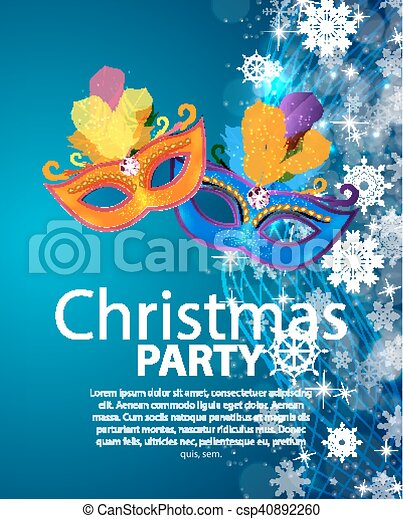 Abstract Beauty Merry Christmas and New Year Party Background with Masquerade Carnival Mask. Vector illustration - csp40892260