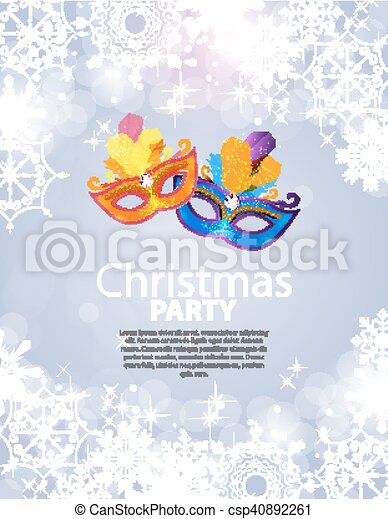 Abstract Beauty Merry Christmas and New Year Party Background with Masquerade Carnival Mask. Vector illustration - csp40892261