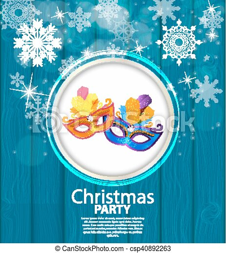 Abstract Beauty Merry Christmas and New Year Party Background with Masquerade Carnival Mask. Vector illustration - csp40892263