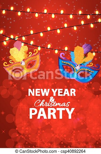 Abstract Beauty Merry Christmas and New Year Party Background with Masquerade Carnival Mask. Vector illustration - csp40892264