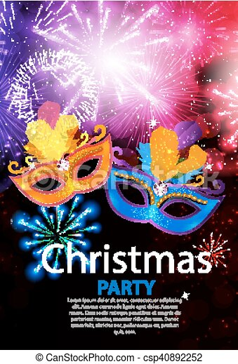 Abstract Beauty Merry Christmas and New Year Party Background with Masquerade Carnival Mask. Vector illustration - csp40892252