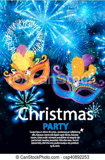 Abstract Beauty Merry Christmas and New Year Party Background with Masquerade Carnival Mask. Vector illustration - csp40892253