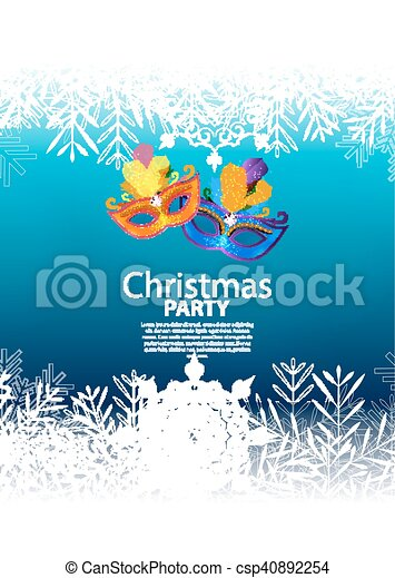 Abstract Beauty Merry Christmas and New Year Party Background with Masquerade Carnival Mask. Vector illustration - csp40892254