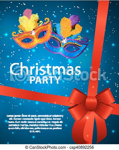 Abstract Beauty Merry Christmas and New Year Party Background with Masquerade Carnival Mask. Vector illustration - csp40892256