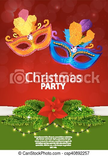 Abstract Beauty Merry Christmas and New Year Party Background with Masquerade Carnival Mask. Vector illustration - csp40892257