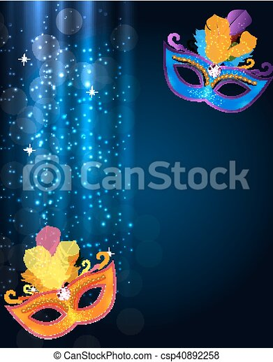 Abstract Beauty Merry Christmas and New Year Party Background with Masquerade Carnival Mask. Vector illustration - csp40892258