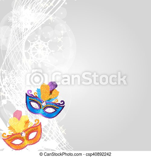 Abstract Beauty Merry Christmas and New Year Party Background with Masquerade Carnival Mask. Vector illustration - csp40892242
