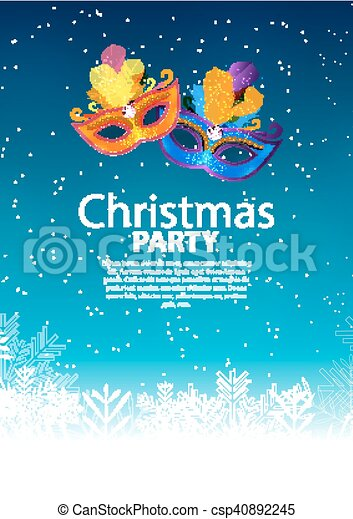 Abstract Beauty Merry Christmas and New Year Party Background with Masquerade Carnival Mask. Vector illustration - csp40892245