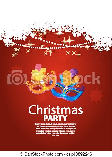Abstract Beauty Merry Christmas and New Year Party Background with Masquerade Carnival Mask. Vector illustration - csp40892246