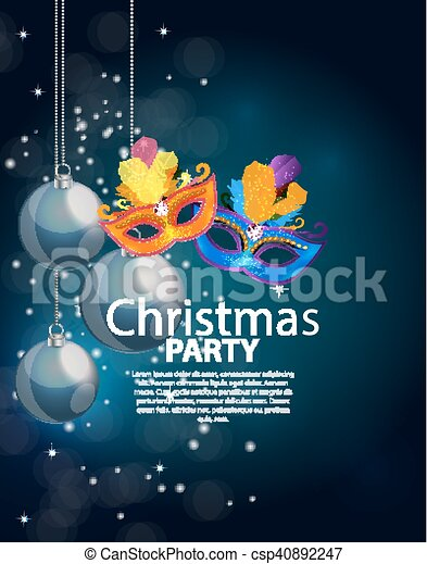 Abstract Beauty Merry Christmas and New Year Party Background with Masquerade Carnival Mask. Vector illustration - csp40892247