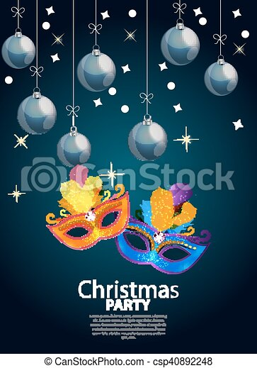 Abstract Beauty Merry Christmas and New Year Party Background with Masquerade Carnival Mask. Vector illustration - csp40892248