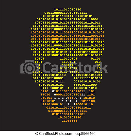 Abstract binary skull on black background - csp8966460