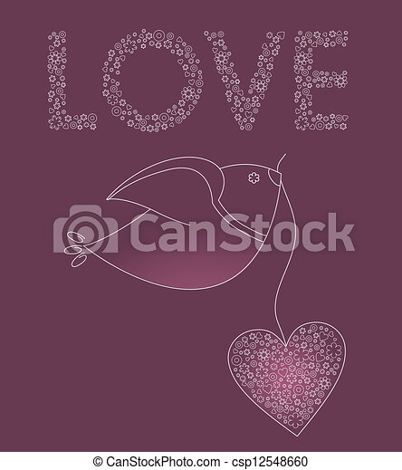 Abstract bird with a pink heart - csp12548660