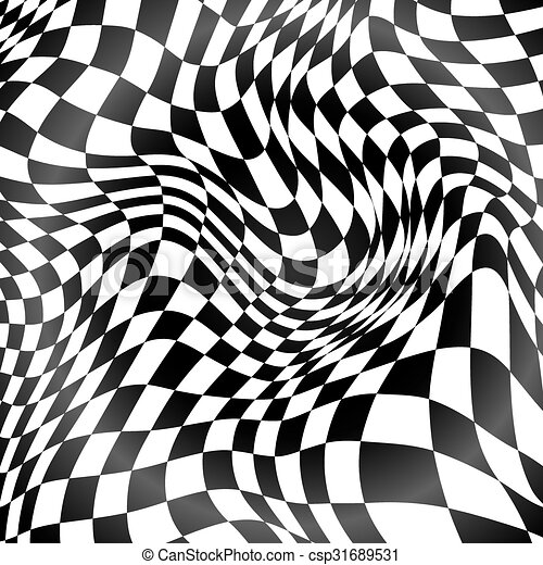 Abstract black and white curved grid background - csp31689531