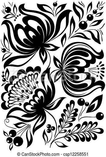 Abstract Black And White Flowers Stylish Retro Ornament Design