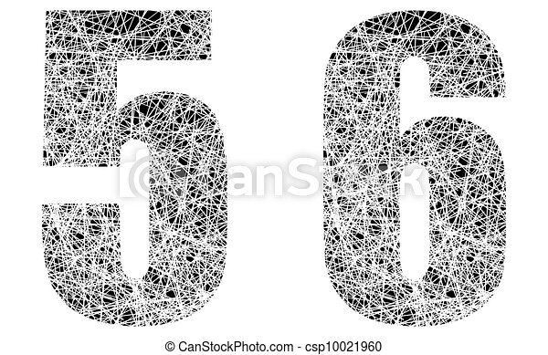 Abstract Black and White Font Numbers 5 and 6 - csp10021960