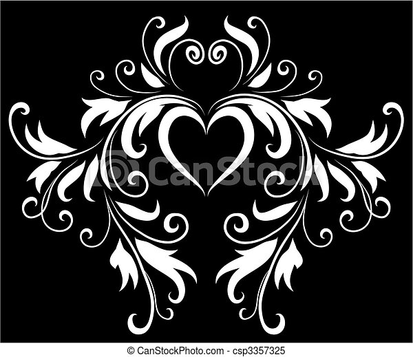 Abstract Black And White Heart Design