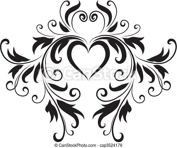 Charmant Abstract Black And White Heart Design   Csp3524179