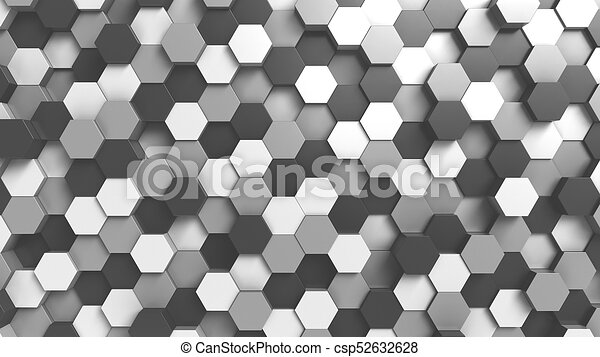 Abstract black and white hexagonal background, 3D rendering - csp52632628