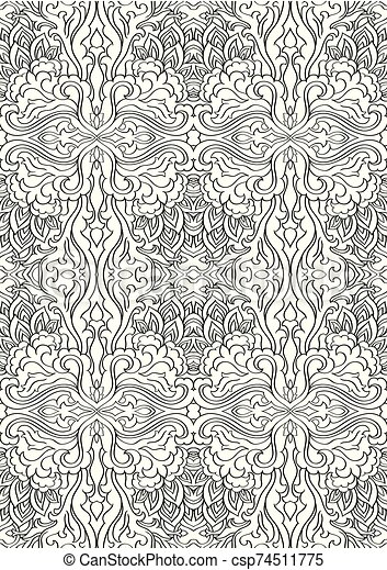 Abstract Black And White Pattern Seamless Filigree Ornament Eastern Template For Wallpaper Textile Shawl Carpet