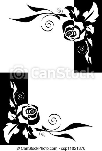 Abstract Black And White Roses