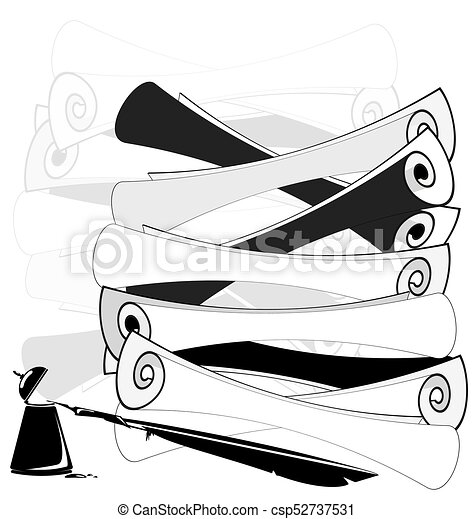 Abstract Black And White Scrolls And Ink