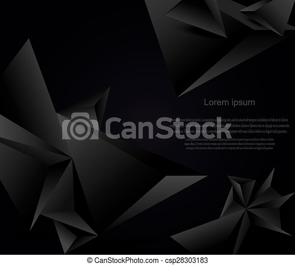 Abstract black background with geometric figures - csp28303183