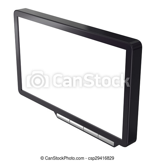 Abstract black computer monitor isolated on white background. - csp29416829