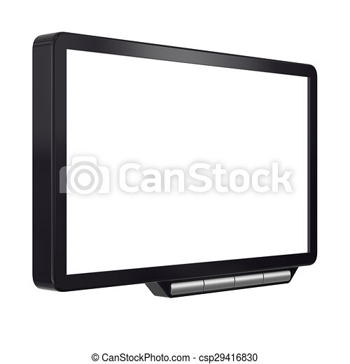 Abstract black computer monitor isolated on white background. - csp29416830