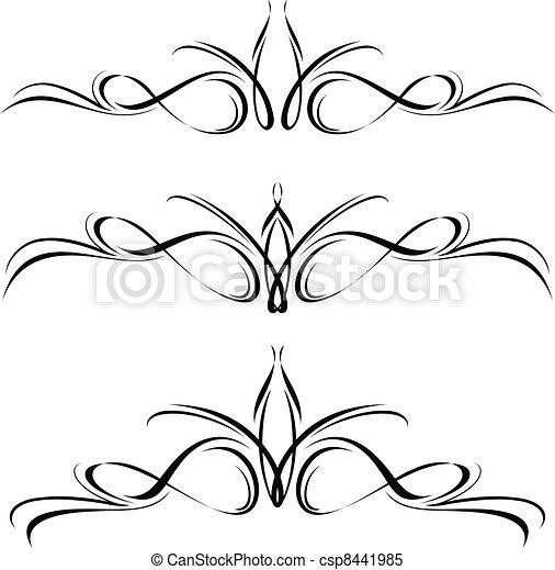 Abstract black flora design element. - csp8441985