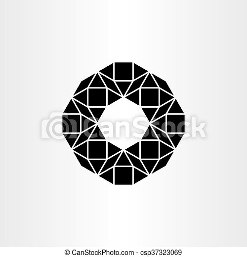 abstract black vector polygon geometric icon background - csp37323069