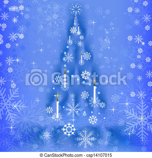 Abstract blue background with Christmas tree shape. - csp14107015