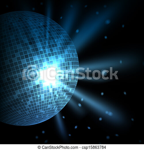 abstract blue background with disco ball vector eps10 illustration
