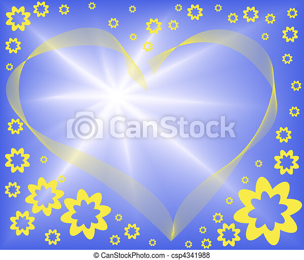 abstract blue background with heart - csp4341988