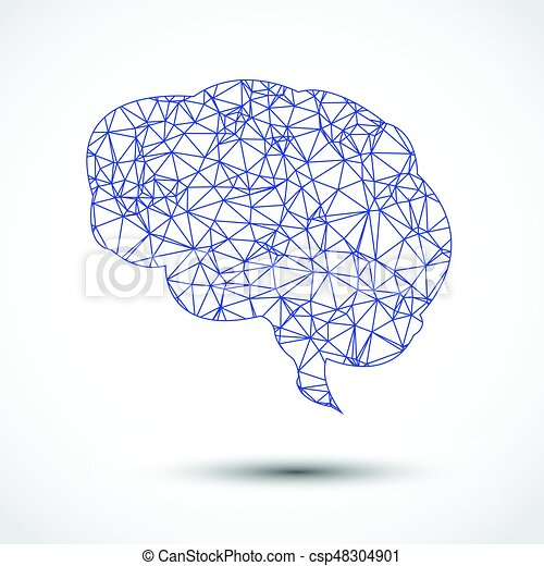 Abstract blue brain mesh on white background abstract blue brain mesh on white csp48304901 ccuart Gallery