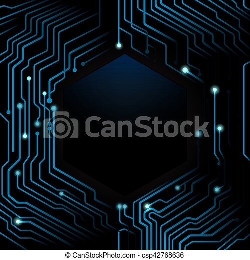 Abstract blue circuit board on dark background vectors - Search Clip ...