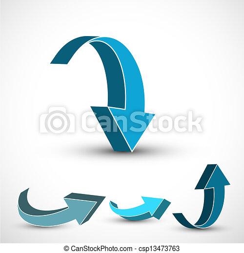 abstract blue colorful 3d arrow Vector design - csp13473763