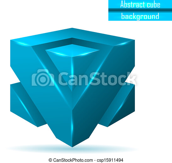abstract blue cube vector - csp15911494
