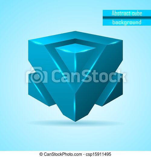 abstract blue cube vector - csp15911495